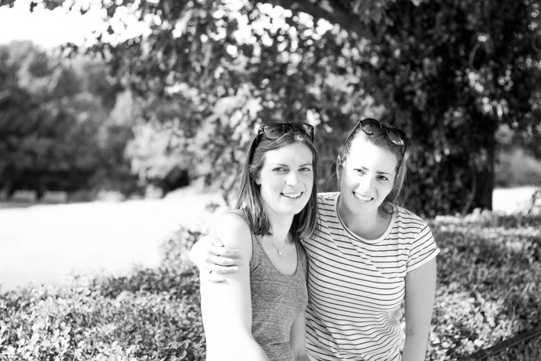 Amy and Anna b and w